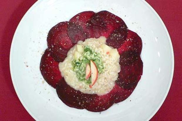 birnen chili risotto mit feldsalat auf rote bete carpaccio rezept. Black Bedroom Furniture Sets. Home Design Ideas