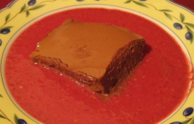 mousse au chocolat auf einem spiegel aus chocolat blanc mit himbeeren rezept. Black Bedroom Furniture Sets. Home Design Ideas