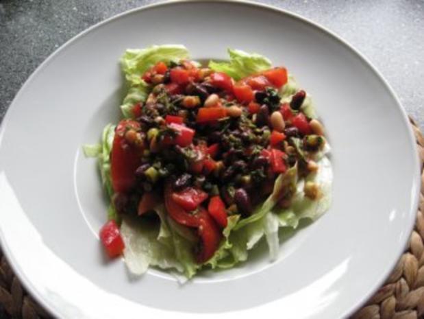 bohnen auf eisbergsalat mit tomaten dressing rezept. Black Bedroom Furniture Sets. Home Design Ideas