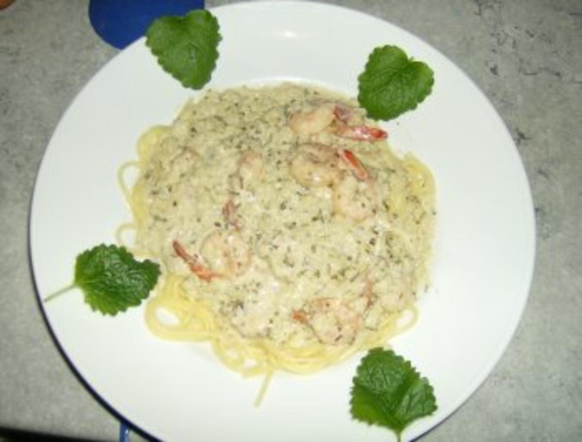 knofi spaghetti mit shrimps rezept mit bild. Black Bedroom Furniture Sets. Home Design Ideas