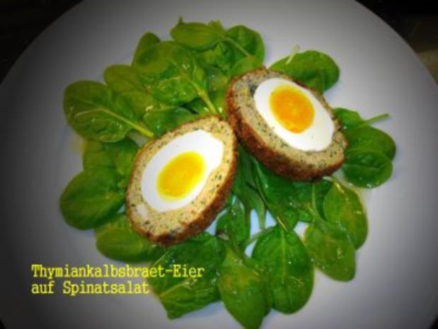 thymian kalbsbraet eier auf spinat salat rezept. Black Bedroom Furniture Sets. Home Design Ideas
