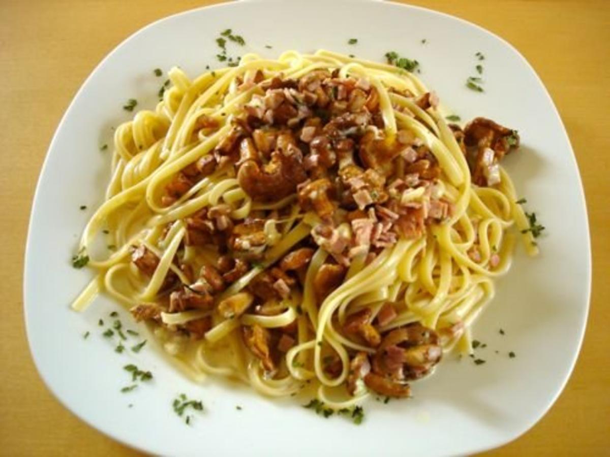 spaghetti mit pfifferlingen und schinken rezept. Black Bedroom Furniture Sets. Home Design Ideas
