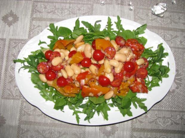 salat rauke paprika bohnen salat mit mozzarella rezept. Black Bedroom Furniture Sets. Home Design Ideas