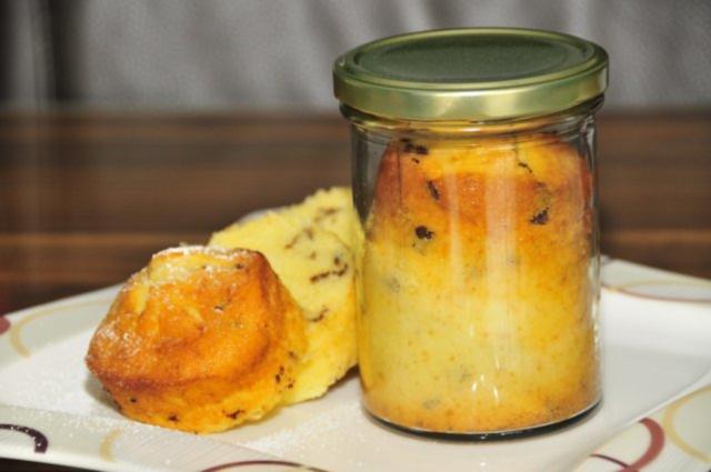 Zitronen kuchen im glas