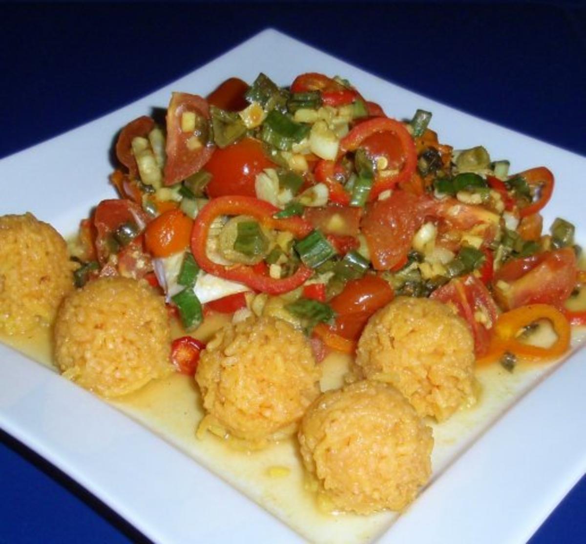 FischGemüse aus dem Backofen mit BasmatiReis  Rezept  ~ Backofen Gemüse