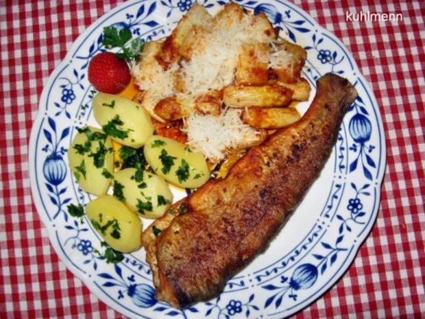 Spargel zu Brat-Forelle mediterran - Rezept