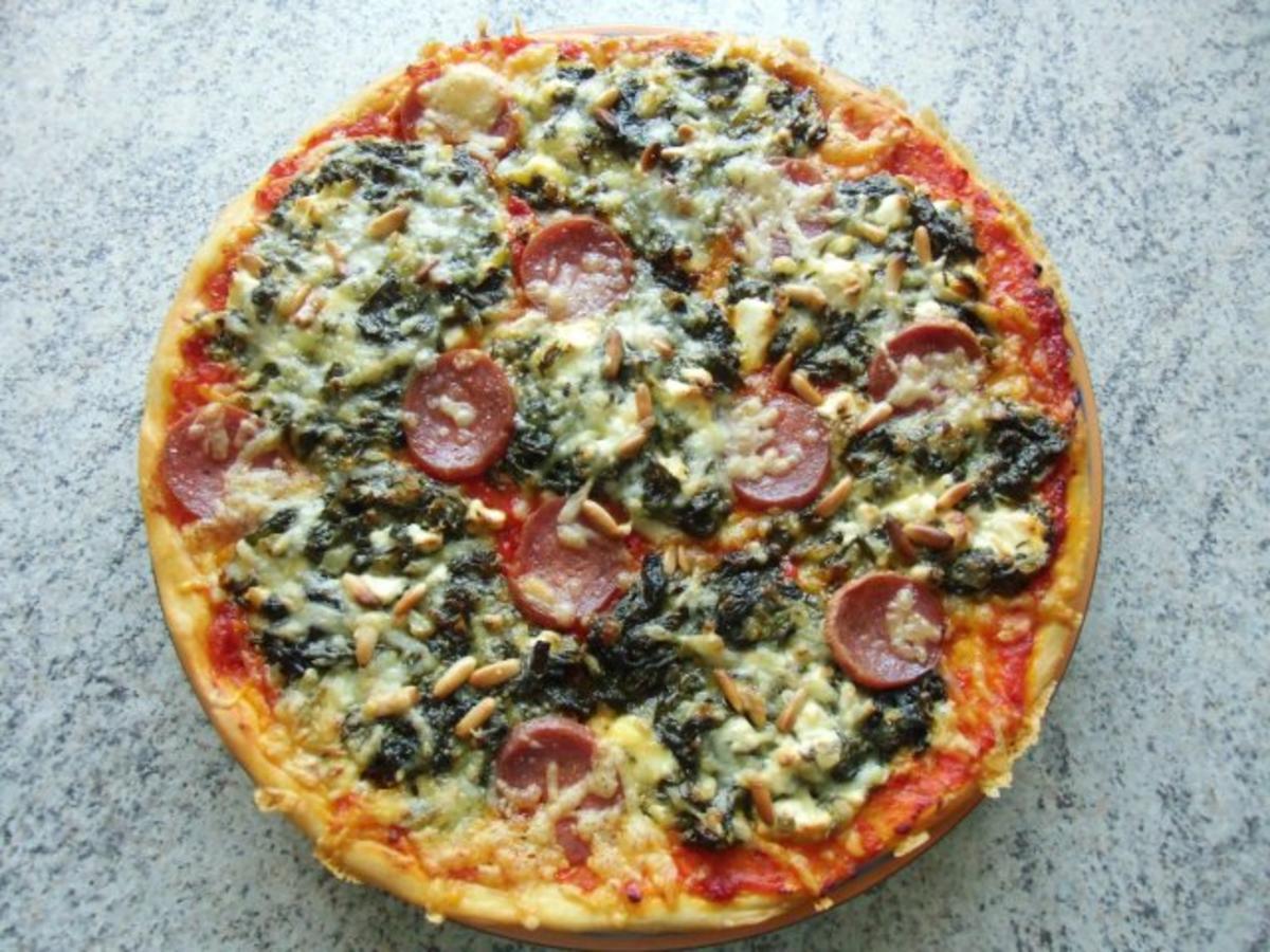 spinat pizza rezept mit bild. Black Bedroom Furniture Sets. Home Design Ideas