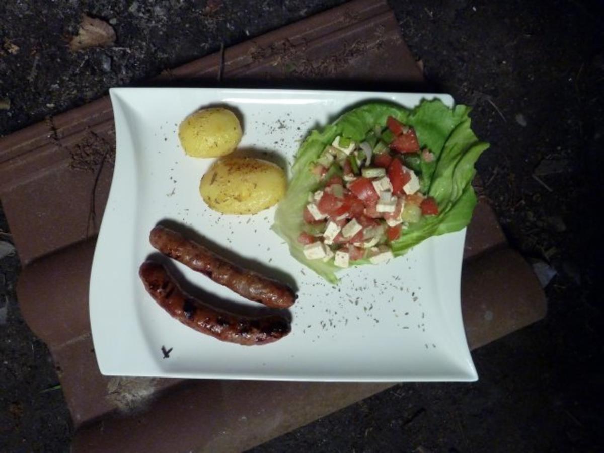 lammwurst mit aprikose rosmarinkartoffeln mit staudensellerie salat und b rlauchbutter rezept. Black Bedroom Furniture Sets. Home Design Ideas