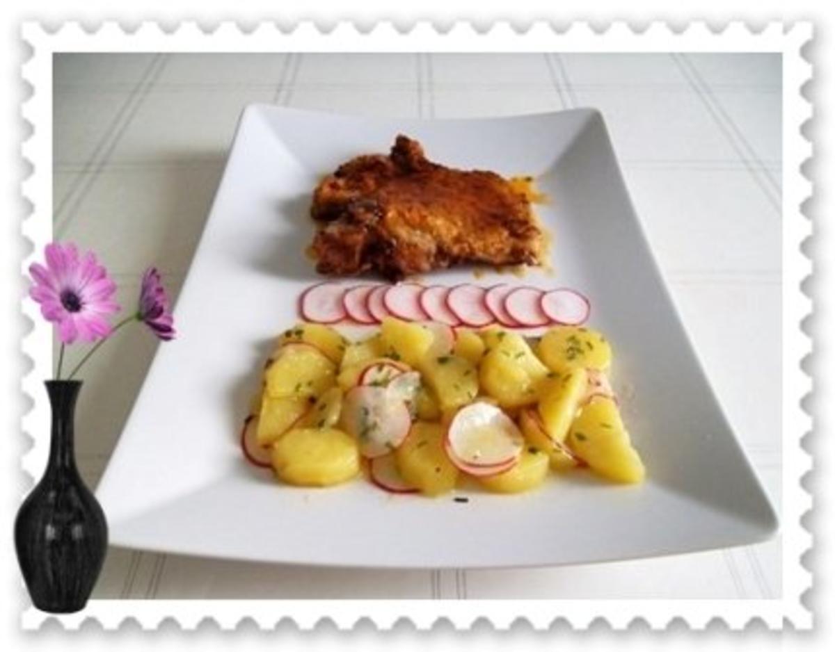 saftiges schweinekotelett mit kartoffel radieschen salat rezept. Black Bedroom Furniture Sets. Home Design Ideas