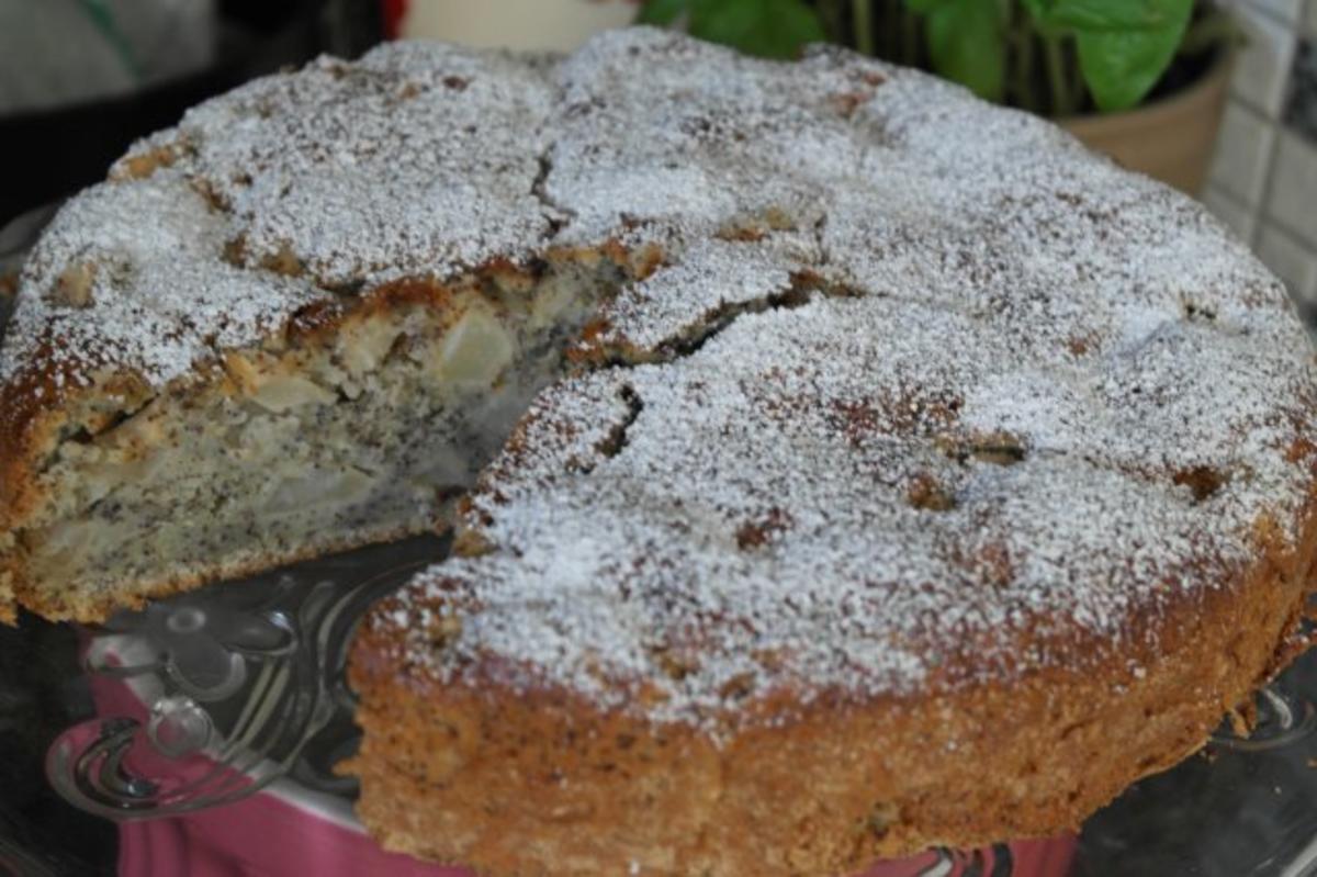 Kuchen apfel birne mohn