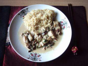 Seelachs in Kokos-Curry-Soße mit Curryreis - Rezept