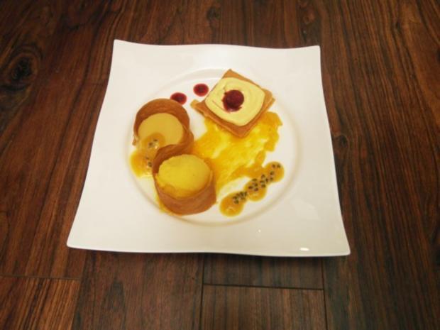 variationen von passionsfrucht und mango an strudelteig rezept. Black Bedroom Furniture Sets. Home Design Ideas