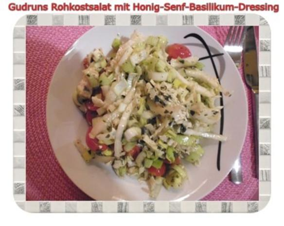 salat rohkostsalat mit honig senf basilikum dressing rezept. Black Bedroom Furniture Sets. Home Design Ideas