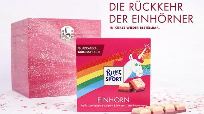 einhorn schokolade ritter sport produziert nach. Black Bedroom Furniture Sets. Home Design Ideas