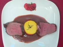 Filet von der Färse an Paprika-Polenta-Turm und Erdbeer-Balsamicosoße - Rezept