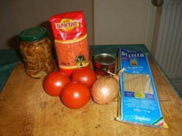 Spagetti mit Pilzen und roten Linsen-Tomatensoße - Rezept