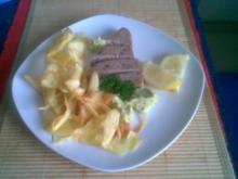 Thunfischsteak mit Avocadopüree und Kartofellstreifen - Rezept