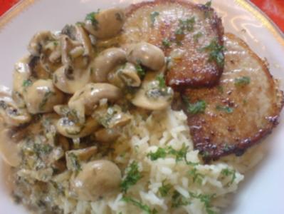 Champignon-Ragout mit Reis und Minutensteaks - Rezept