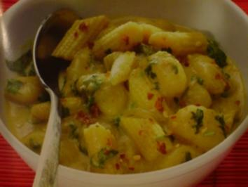 Rezept: Gnochi in roter Currysauce