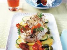 Steinbeißerfilet auf Möhrengemüse an Kartoffel Olivenpüree - Rezept
