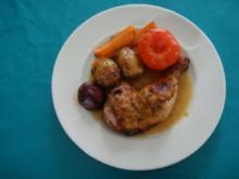 Kurzgebratenes: Hähnchenschenkel mit Rosmarinkartoffeln und Backgemüse - Rezept