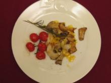 Überbackene Polenta mit Orangen-Fenchel, Pastis-Sahnesoße und gegrillten Steinpilzen - Rezept