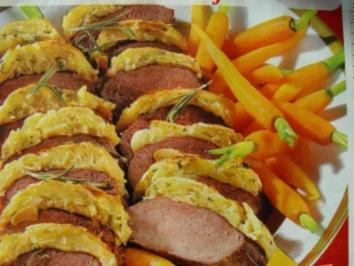 Fleisch-Gerichte :  Rehrücken  unter Mandel-Rosmarin-Kruste mit Madeira-Soße - Rezept