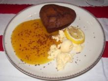 Brownie mit Mangosoße und Mangoparfait - Rezept