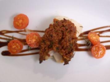 Rotbarsch mit Chorizokruste an geschmorten Tomaten - Rezept