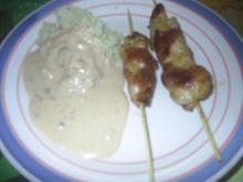 Geflügel - Hähnchen-Saté mit Erdnuss-Sauce und Reis - Rezept