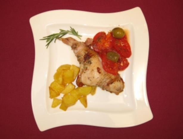 Kaninchen mit Tomaten, Oliven und Patatas Bravas - Rezept