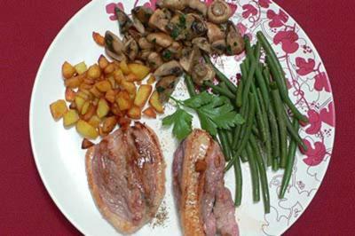 Entenbrustfilet mit Honig, Pilzen, Gemüse und Bratkartoffeln - Rezept