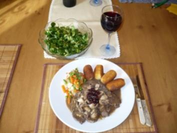 Rezept: Hirschschnitzel mit Champignons