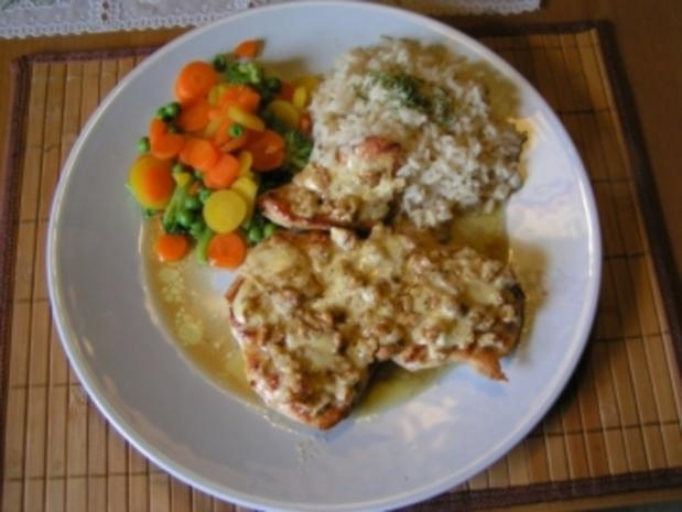 Putenschnitzel mit Käse-Walnußkruste - Rezept