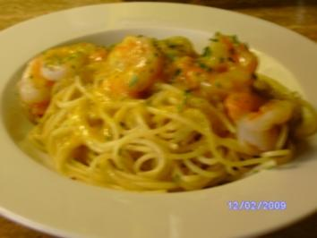 Orangenspagetti mit Garnelen - Rezept