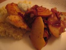 Rotbarsch mit Zwiebel Apfel Gemüse - Rezept