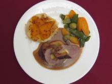 Schweinefilet gefüllt mit Calvados-Apfel und Süßkartoffelpastete - Rezept