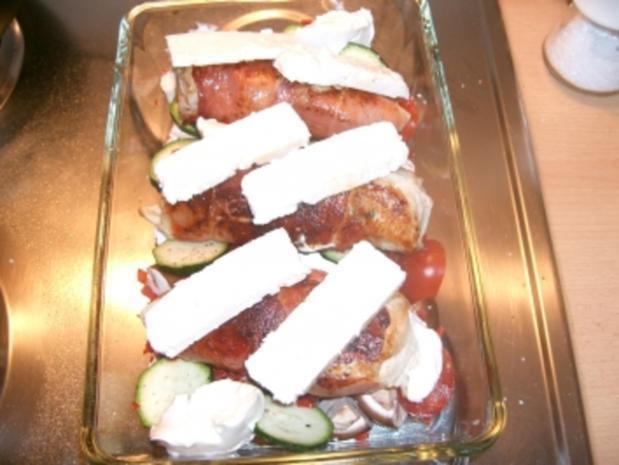 Spanische Hähnchenbrust trifft griechischen Feta auf italienischem Gemüsebett - Rezept