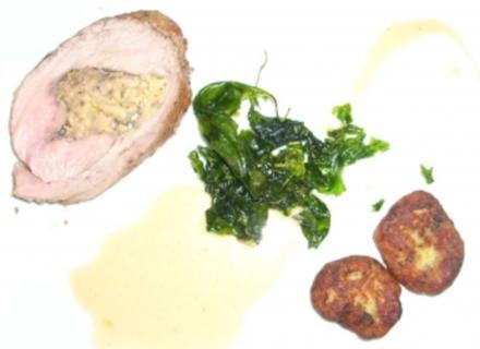 Gefüllter Kalbsrücken an Kartoffeltalern - Rezept