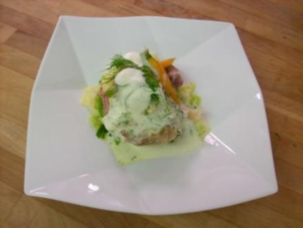 Beinscheiben vom Kalb auf Kartoffel-Meerrettich-Stampf mit Gemüse - Rezept