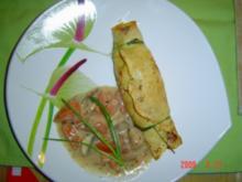 Gefüllte Pfannkuchen mit Champignonrahmsauce - Rezept