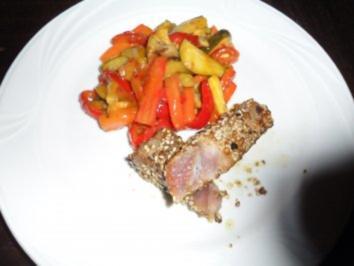 Thunfisch gebraten auf Linsen-Mango-Gemüse bzw. Gemüse fruchtig-scharf - Rezept