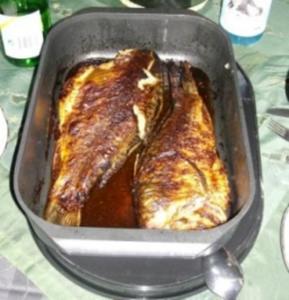 Gebackener Karpfen in Weißweinsoße - Rezept