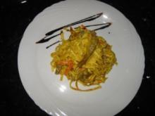 Curry-Rindfleischstreifen mit Nudeln - Rezept