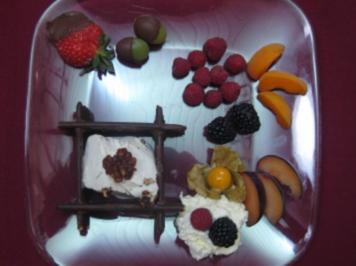 Walnusseis auf Schokostäbchen in Schokoladenschale mit Obst - Rezept