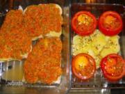 Seelachsfilet mit Tomaten-Parmesan-Kruste und einem neuen Schuppenkleid - Rezept