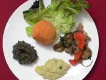 Tapenaden aus Artischocken und Oliven, sizilianische Reiskügelchen - Rezept
