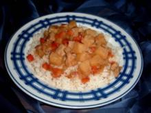 Schweinefleisch süß-sauer mit Reis - mal anders - Rezept