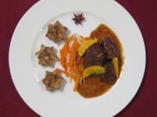 Rehschulter mit Sternanis und Semmelknödel-Talern - Rezept