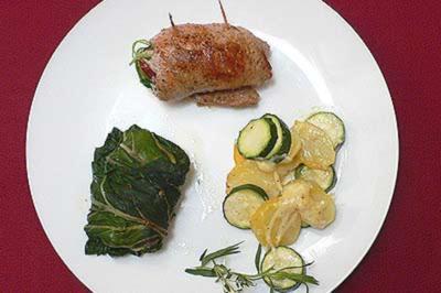 Involtini alla verde, Kartoffel-Zucchini-Gratin und Mangold-Päckchen - Rezept - Bild Nr. 9